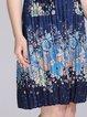 Blue Floral-print H-line Short Sleeve Midi Dress