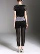 Black Short Sleeve Guipure Lace Crew Neck Two-piece Set