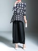 Black-white Pleated 3/4 Sleeve Stand Collar Printed Top