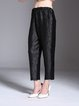 Black Solid Casual Straight Leg Pants