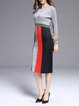 Gray Long Sleeve Bodycon Color-block Crew Neck Midi Dress