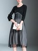 Black-grey Pleated Color-block 3/4 Sleeve Midi Dress