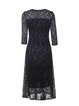 Black-blue Pleated Elegant Guipure Lace A-line Midi Dress