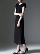 Black Elegant H-line Paneled Midi Dress