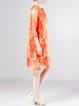 Orange Casual Silk Printed Midi Dress