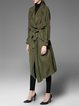 Dark Green Shift Casual Silk Trench Coat