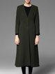 Dark Green Elegant V Neck Pockets Coat