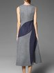 Blue Sleeveless Color-block Midi Dress