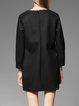 Black Plain Crew Neck Long Sleeve Mini Dress