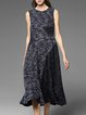 Dark Blue Elegant Paneled A-line Midi Dress