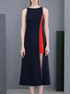 Dark Blue Bateau/boat Neck Elegant Paneled Slit Midi Dress