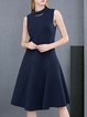 Navy Blue A-line Paneled Elegant Plain Midi Dress