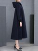Navy Blue Hoodie A-line Long Sleeve Pockets Coat