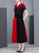 Red Color-block V Neck Elegant Maxi Dress