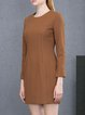 Coffee Casual Crew Neck Sheath Mini Dress