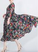 Floral Printed Casual A-line 3/4 Sleeve Midi Dress