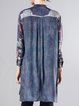 Blue Silk Printed Long Sleeve Stand Collar Tunic