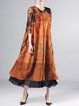 Multicolor Silk 3/4 Sleeve H-line Printed Maxi Dress