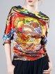 Multicolor Vintage Silk Printed Long Sleeved Top