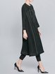 Black H-line Crew Neck Sewing Long Sleeve Midi Dress