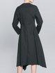Black Long Sleeve Plain Asymmetric Midi Dress