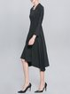 Black Long Sleeve Plain Asymmetric Midi Dress