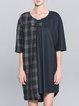 Blue Asymmetric Crew Neck Checkered/Plaid Midi Dress