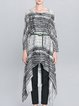 Black Pockets Asymmetrical Casual Midi Dress