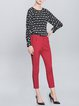 Red Plain Casual Pockets Cropped Pants