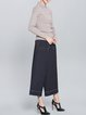 Blue Casual Pockets Wide Leg Pants