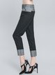 Black Casual Paneled Straight Leg Pants