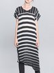 Black Stripes Asymmetrical Casual Silk Midi Dress