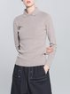 Khaki Plain Casual Sheath Knitted Sweater