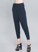 Blue Pockets Knitted Casual Cropped Pants