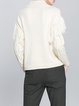 Beige Fringed Casual Stand Collar H-line Sweater