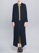 Navy Blue Casual Pockets Stand Collar Cardigan