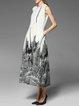 Gray Crew Neck Sleeveless Paneled Midi Dress