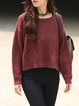 Red Crew Neck Knitted H-line Lace up Sweater
