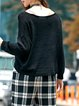 Black Knitted Lace up Long Sleeve Plain Sweater