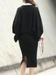 Black Slit Knitted Two Piece Batwing Midi Dress