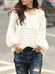White Plain V Neck Casual Knitted Sweater