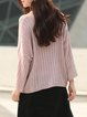 Pink V Neck Knitted Casual Sweater