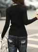 Black Long Sleeve V Neck Knitted Sheath Sweater