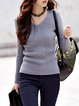 Gray Ribbed Long Sleeve Sheath Sweater
