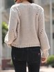 Light Purple Polyester Pierced Long Sleeve H-line Sweater