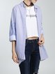 Blue Stripes Paneled Batwing Blouse