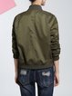 Dark Green Casual Plain Bomber Jacket