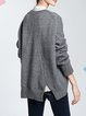 Gray Long Sleeve Crew Neck Knitted Sweater