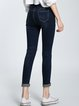 Dark Blue Cutout Pockets Plain Casual Skinny Leg Jean