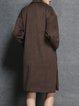 Coffee Long Sleeve Plain Pockets Slit Coat